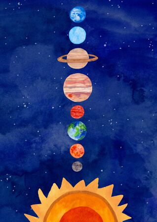 Illustration with solar system planets on a watercolor blue background. Kids gouache hand painted cosmic poster or card.