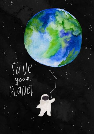 Illustration with spaceman holding the Earth planet on a watercolor black background. Kids gouache hand painted cosmic poster or card. Standard-Bild