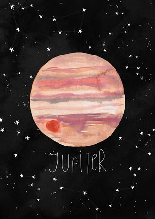 Illustration with Jupiter planet on a black watercolor background. Kids gouache hand painted cosmic poster or card.