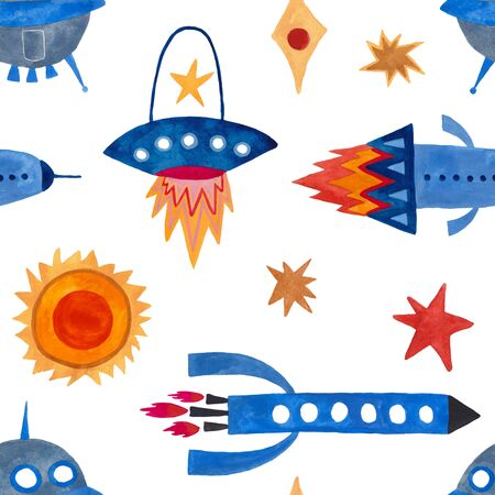 Space seamless pattern with rocket, spaceships and stars on a white background. Kids gouache painted funny wallpaper.