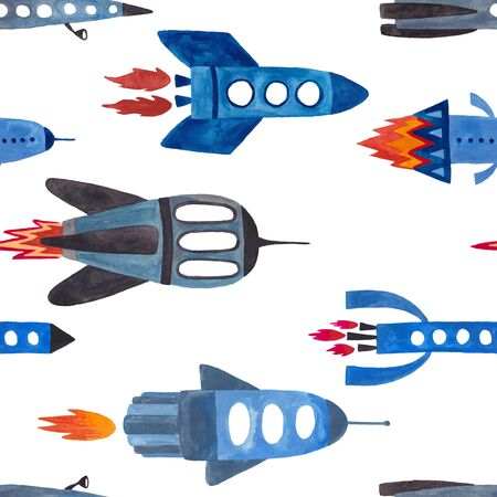 Space seamless pattern with rocket and spaceships on a white background. Kids gouache painted funny wallpaper.