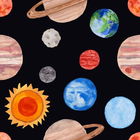 Space seamless pattern with planets of the Solar System on a black background. Kids gouache painted funny wallpaper.