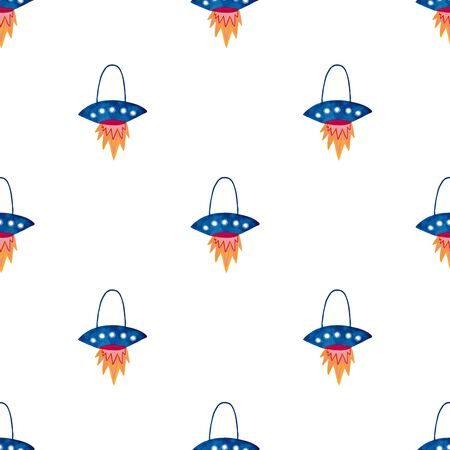 Space seamless pattern with spaceship on a white background. Kids gouache painted funny wallpaper.