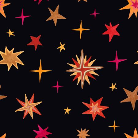 Space seamless pattern with stars on a black background. Kids gouache painted funny wallpaper.