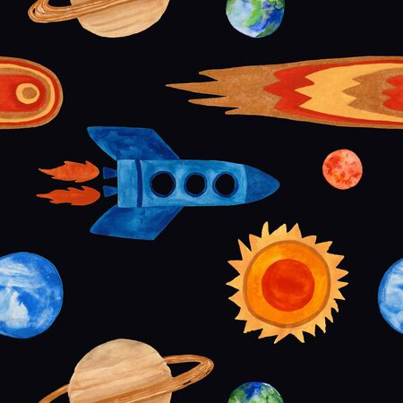 Space seamless pattern with rocket, planets, sun and comet on a black background. Kids gouache painted funny wallpaper.