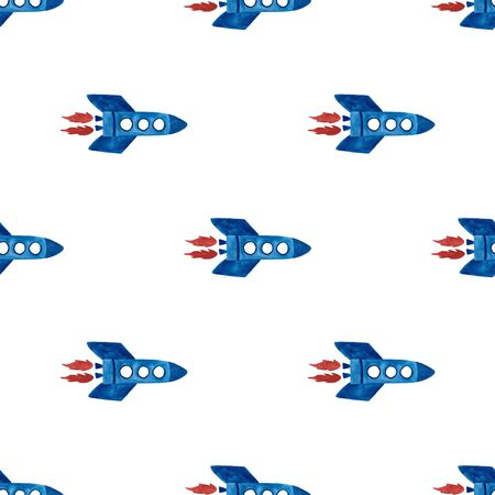 Space seamless pattern with rocket on a white background. Kids gouache painted funny wallpaper.