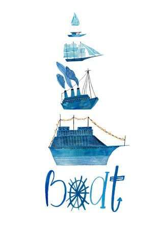 Hand drawn illustration with blue boats and lettering. Poster or card with gouache painted ships.