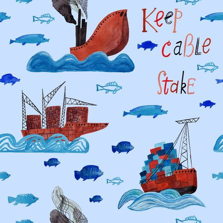 Marine seamless pattern with cargo boats, ships, lettering and fish on a blue background. Kids gouache and watercolor painted funny wallpaper.