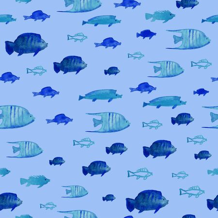 Seamless pattern with floating fish on a blue background. Watercolor painted undersea life wallpaper. Standard-Bild