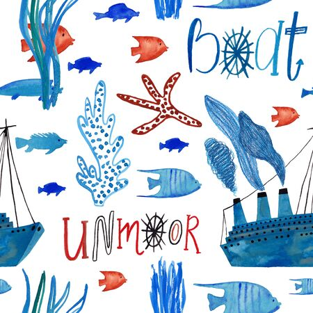 Marine seamless pattern with boat and undersea life on a white background. Kids gouache and watercolor painted funny wallpaper.