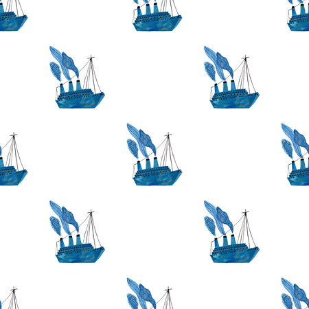 Marine seamless pattern with blue boat on a white background. Kids gouache and watercolor painted funny wallpaper.