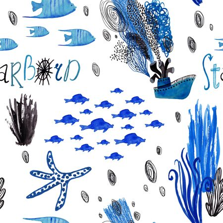 Marine seamless pattern with boat and fish on a white background. Kids gouache and watercolor painted funny wallpaper. Standard-Bild