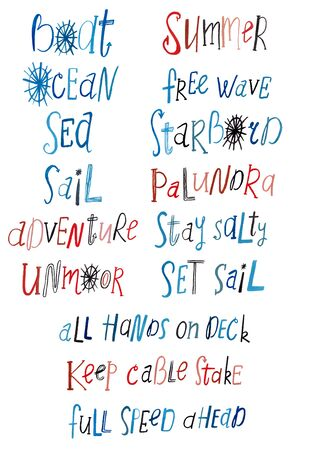 Collection of marine phrases and orders on board. Watercolor hand painted nautical lettering set Standard-Bild