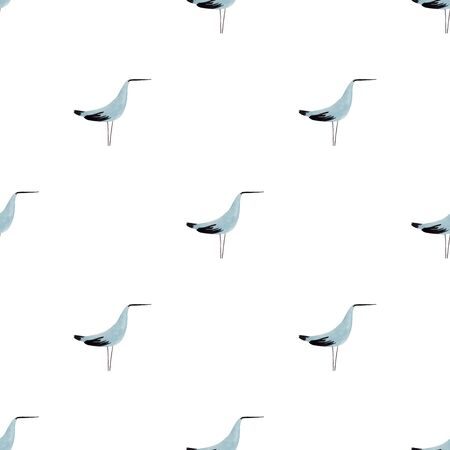 Seamless pattern with funny seagull bird on a white background. Gouache painted avian wallpaper.