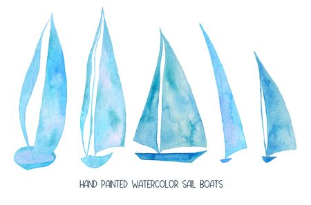 Set of isolated sailboats. Marine watercolor painted sail ships collection.