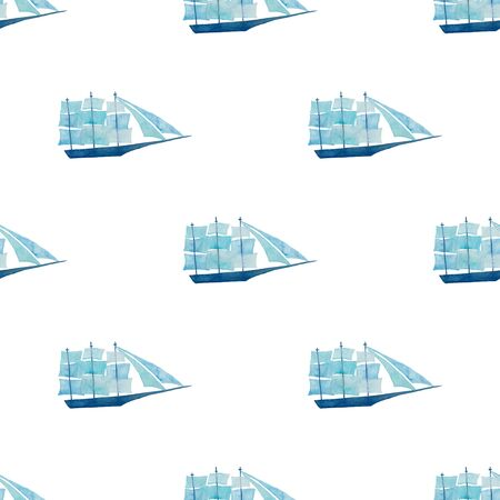 Marine seamless pattern with blue sailboats and on a white background. Kids watercolor painted wallpaper. Standard-Bild