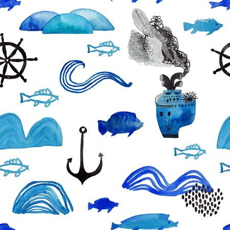 Marine seamless pattern with boat, fish, waves, anchor and wheel on a white background. Kids gouache and watercolor painted funny wallpaper.