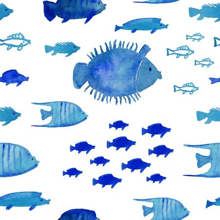 Seamless pattern with floating blue fish on a white background. Watercolor painted undersea life wallpaper. Standard-Bild