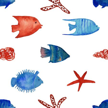 Seamless pattern with fish, shell and starfish on a white background. Watercolor painted undersea life wallpaper. Standard-Bild