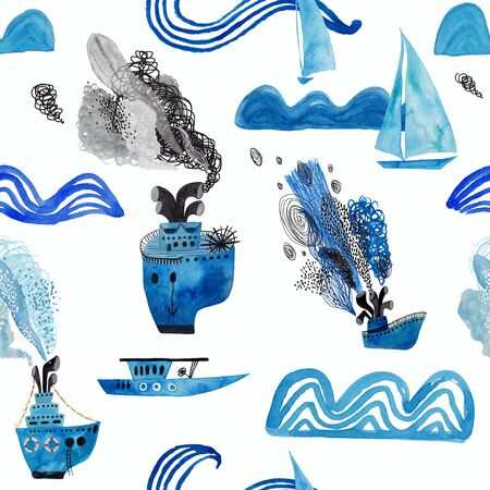 Marine seamless pattern with boats, ships, sails and waves on a white background. Kids gouache and watercolor painted funny wallpaper.