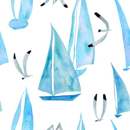 Marine seamless pattern with sailboats and flying seagulls on a white background. Kids gouache and watercolor painted wallpaper.