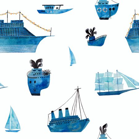 Marine seamless pattern with boats, ships and sailboats on a white background. Kids gouache and watercolor painted funny wallpaper.