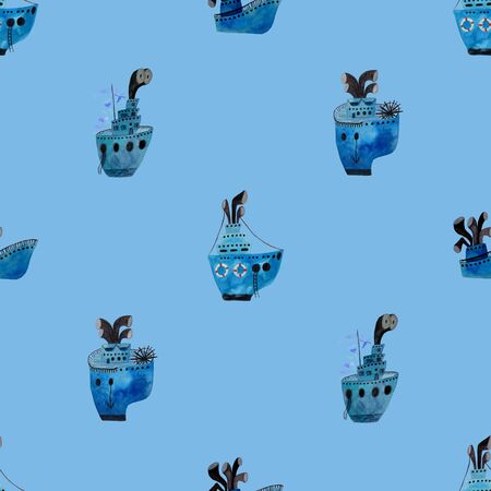 Marine seamless pattern with boat on a blue background. Kids gouache and watercolor painted funny wallpaper.
