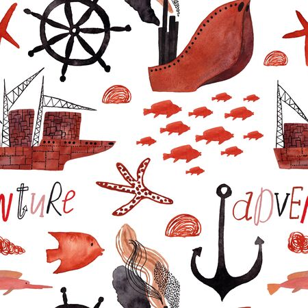 Marine seamless pattern with cargo ships, fish, anchor and lettering on a white background. Kids gouache and watercolor painted funny wallpaper. Standard-Bild