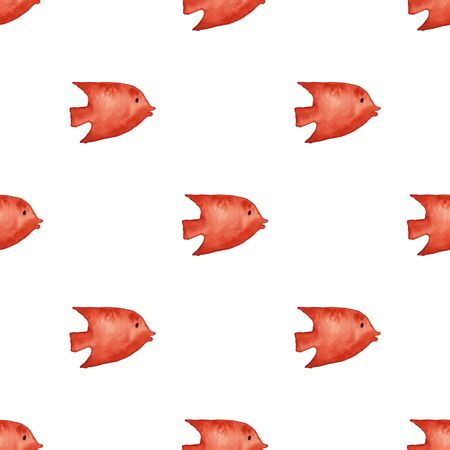 Seamless pattern with orange fish on a white background. Watercolor painted undersea life wallpaper.