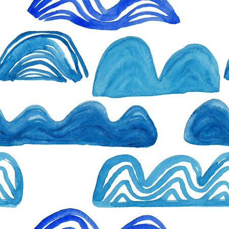 Abstract seamless pattern with blue waves on a white background. Kids gouache painted funny wallpaper. Standard-Bild