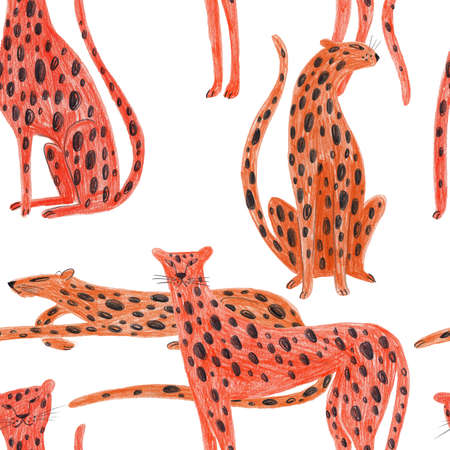 Seamless pattern with cheetah. Kids funny background. Hand drawn with colored pencils animal print.