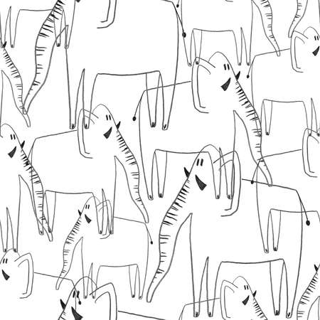 Black and white seamless pattern with elephants. Kids funny background. Hand drawn with black pencil animal print.