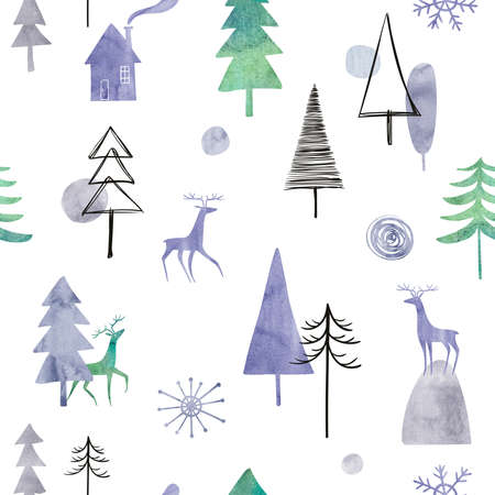Abstract seamless pattern with watercolor winter forest, deers and house on a white background. Simple Scandinavian design.