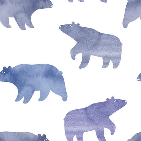 Seamless pattern with watercolor bears on a white background. Winter collection. Simple Scandinavian design. Stock Photo
