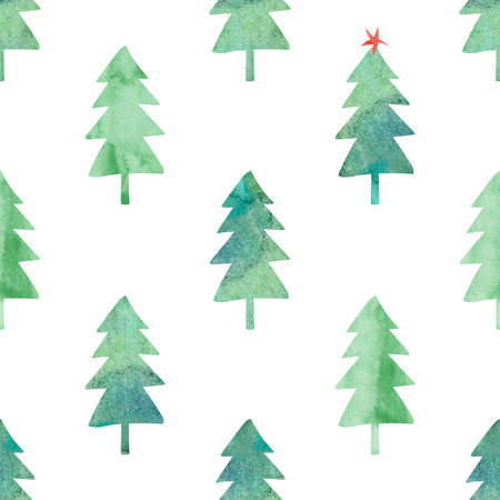 Abstract seamless pattern with green watercolor trees on a white background. Winter forest. Simple Scandinavian design.