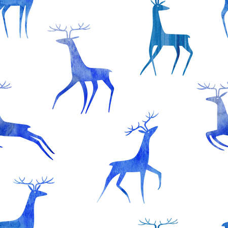 Seamless pattern with blue elegant watercolor deers on a white background. Simple Scandinavian design.