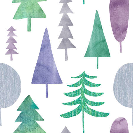 Abstract seamless pattern with watercolor trees on a white background. Winter forest. Simple Scandinavian design.