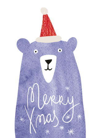 Christmas greeting card with watercolor bear and snowflakes. Simple Scandinavian design.