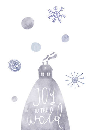 Christmas greeting card with watercolor mountain, house, snowflakes and text - joy to the world. Simple Scandinavian design.