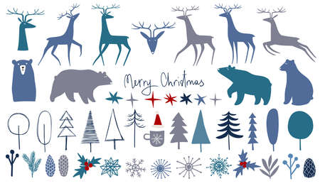 Collection of isolated Merry Christmas vector illustrations. Simple scandinavian design.