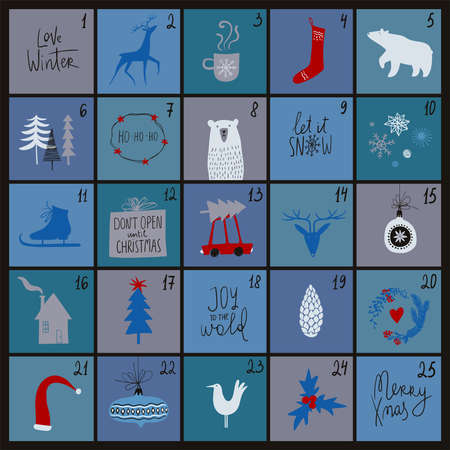 Christmas advent calendar. Simple scandinavian design.