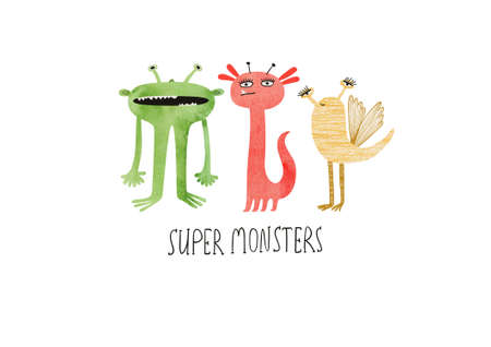 Happy Halloween greeting card with cute super monsters. Funny t-shirt design print.