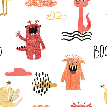Seamless pattern with spooky hand drawn monster. Kids funny wallpaper or print.