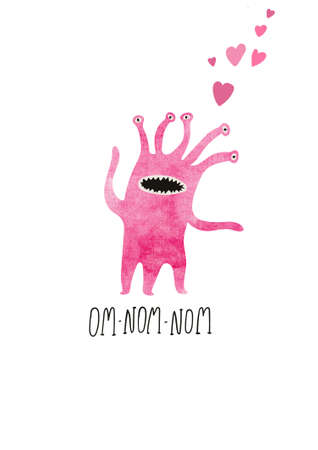 Happy Halloween greeting card with cute spooky monster. Love concept. Funny t-shirt design print. Stock Photo