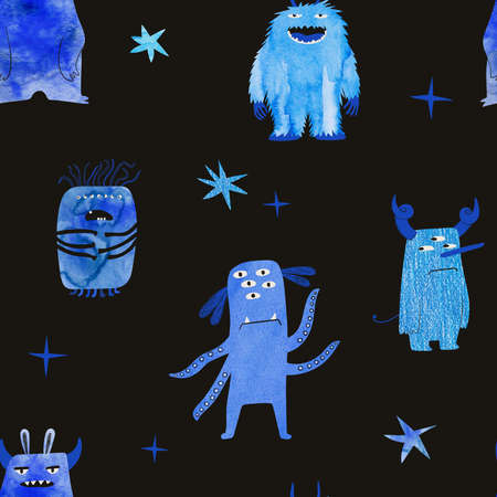 Seamless pattern with blue watercolor monsters on a black background. Kids funny wallpaper or print. Stock Photo