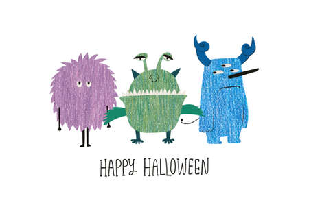 Happy Halloween greeting card with cute spooky monsters. Funny t-shirt design print.
