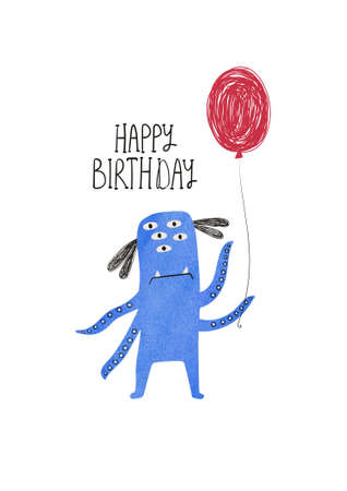 Happy birthday greeting card with spooky monster holding air balloon. Funny t-shirt design. Stock Photo