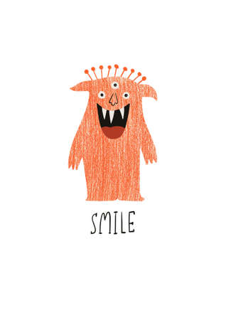 Happy Halloween greeting card with cute spooky monster. Funny t-shirt design print.
