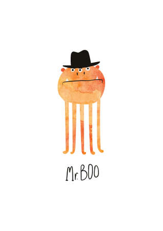 Happy Halloween greeting card with cute spooky monster and text Mr. Boo. Funny t-shirt design print.