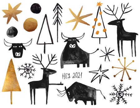 Set of gold and black gouache painted Christmas elements - tree, deer, snowflake. And symbol ot the 2021 new year - bull.